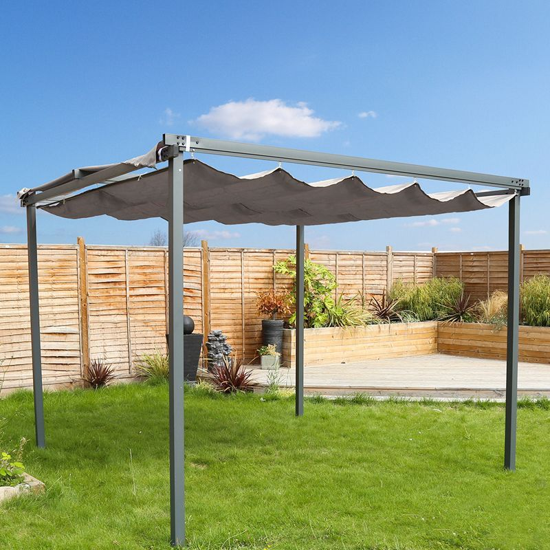 3m x 3m garden patio canopy gazebo grey