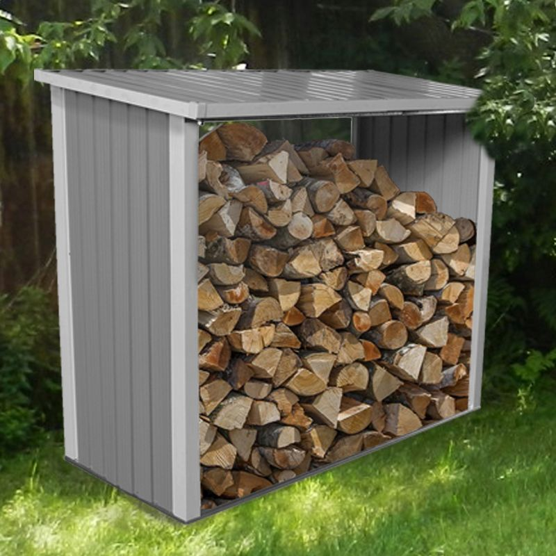 6ft x 3ft Metal Garden Log Wood Store Shed