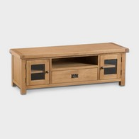 See more information about the Cotswold TV Unit Oak 2 Door 5 Shelf 1 Drawer Large