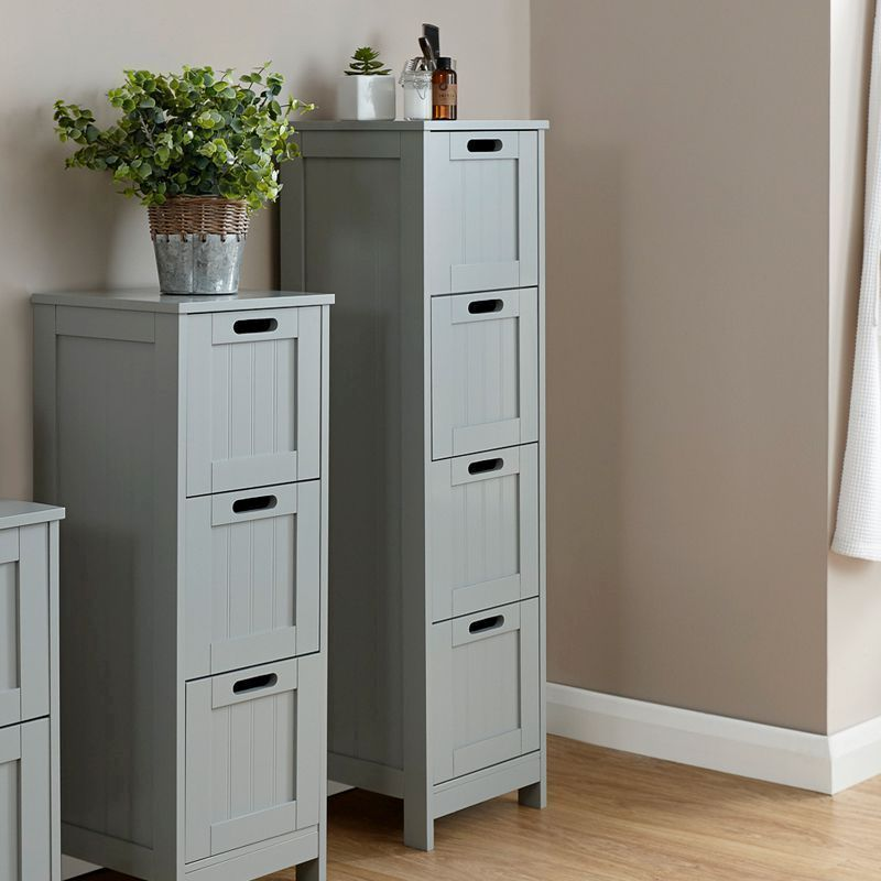 Colonial Grey Slim Chest Of 4 Drawers