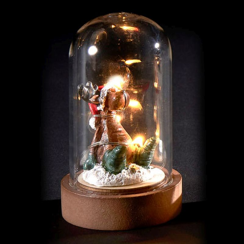 6 LED Glassware Dome Figure Rudolph