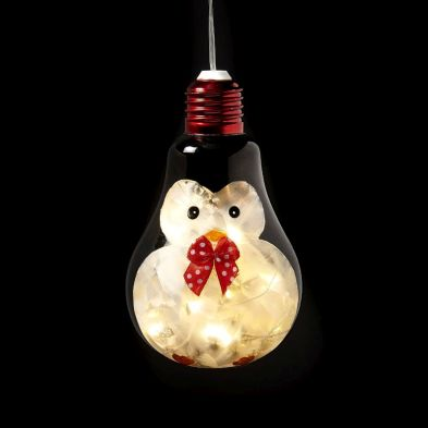 10 LED White Indoor Hanging Bulb Penguin Decoration Battery 8x13cm