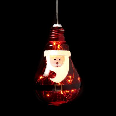 10 LED White Indoor Hanging Bulb Santa Decoration Battery 8x13cm