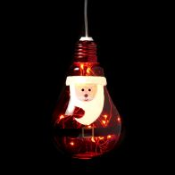 See more information about the 10 LED White Indoor Hanging Bulb Santa Decoration Battery 8x13cm
