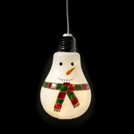 See more information about the 10 LED White Indoor Hanging Bulb Snowman Decoration Battery 8x13cm