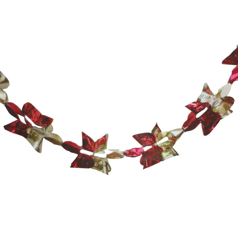Christmas Garland Decoration 8 Foot x 9 Inch Red & Gold