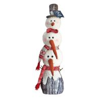 See more information about the Tiered Standing Snowman With Brown Top Hat 22 Inch