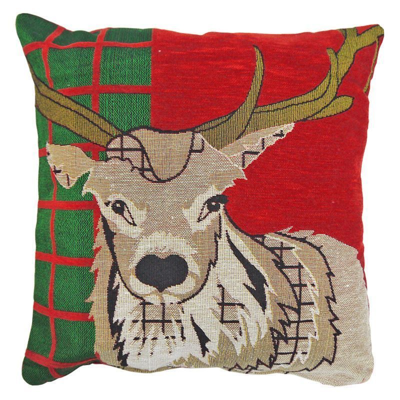 43x43cm Red & Green Tartan Stag Tapestry Cushion Christmas Design