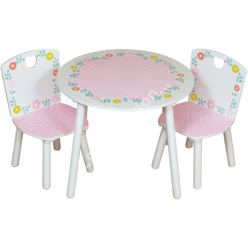 Floral Play Table Pink With 2 Chairs