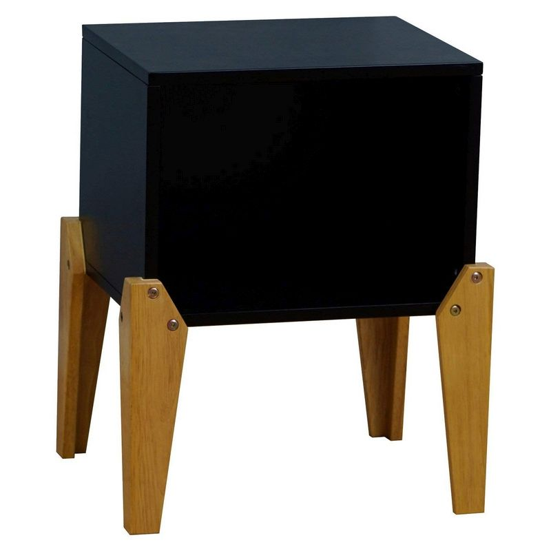 Kudl Bedside Table Black 1 Shelf