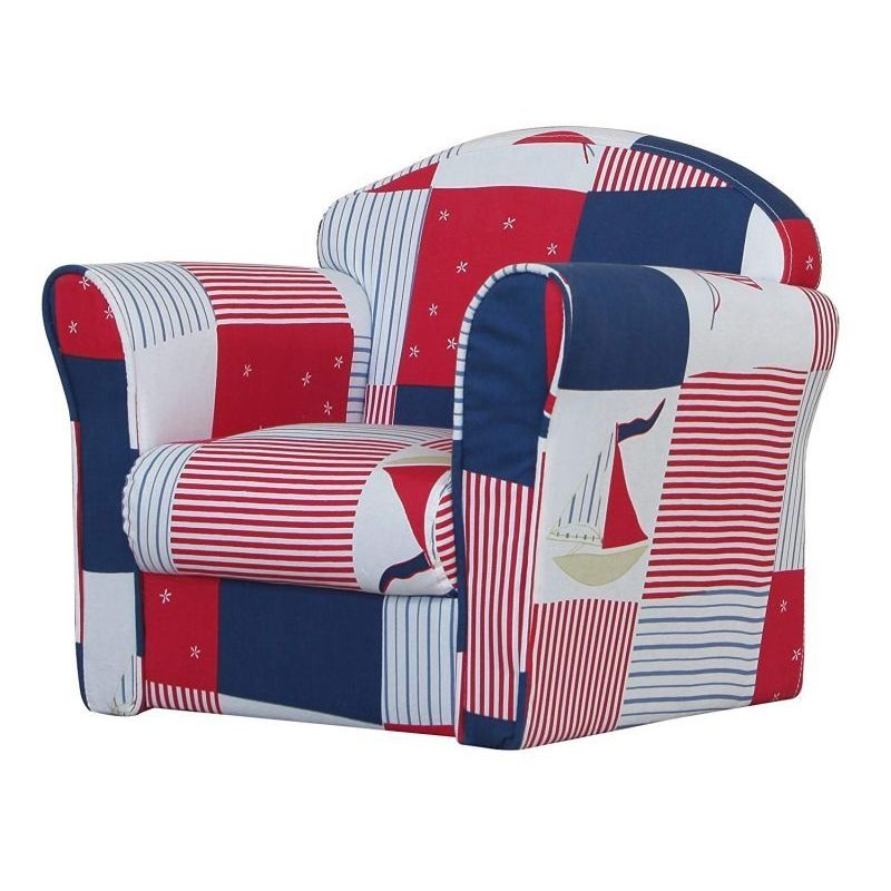 Patchwork Armchair Blue & Red