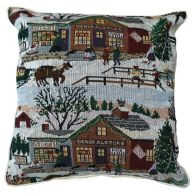 See more information about the 43x43cm Christmas Village Scene Tapestry Cushion
