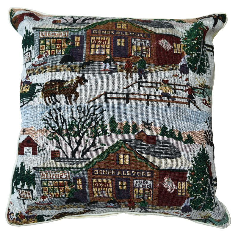 43x43cm Christmas Village Scene Tapestry Cushion