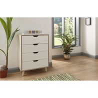 See more information about the Stockholm White Chest Of 4 Drawers Oak Style