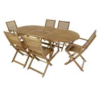 See more information about the Charles Bentley FSC Acacia Hardwood Extending Table 6 Chair Dining Set