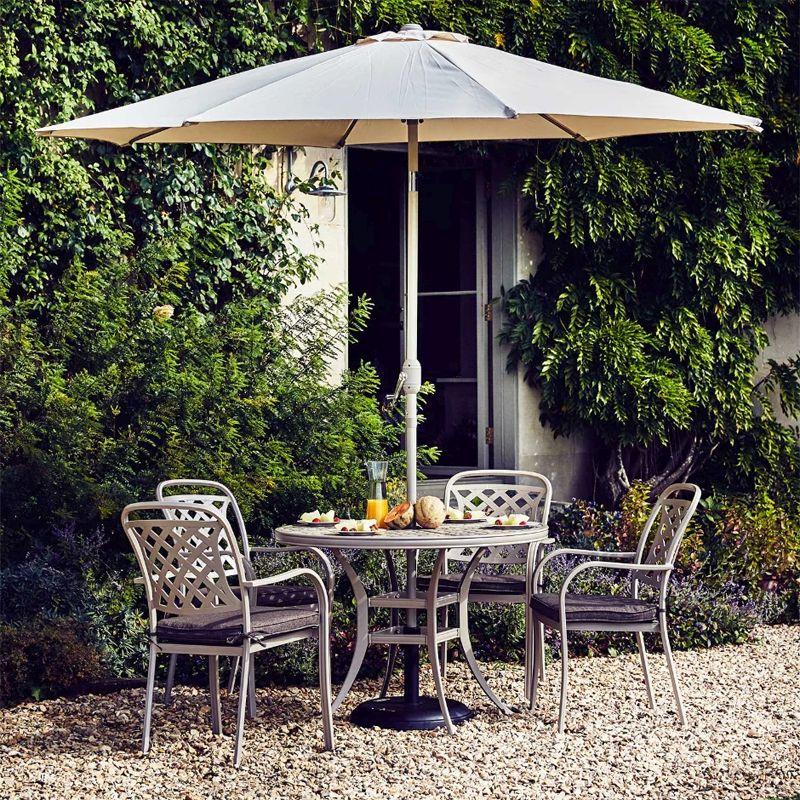 Stratford Metal Round Garden Dining Set 2 5m Parasol Grey 4 Seats Buy Online At Qd Stores