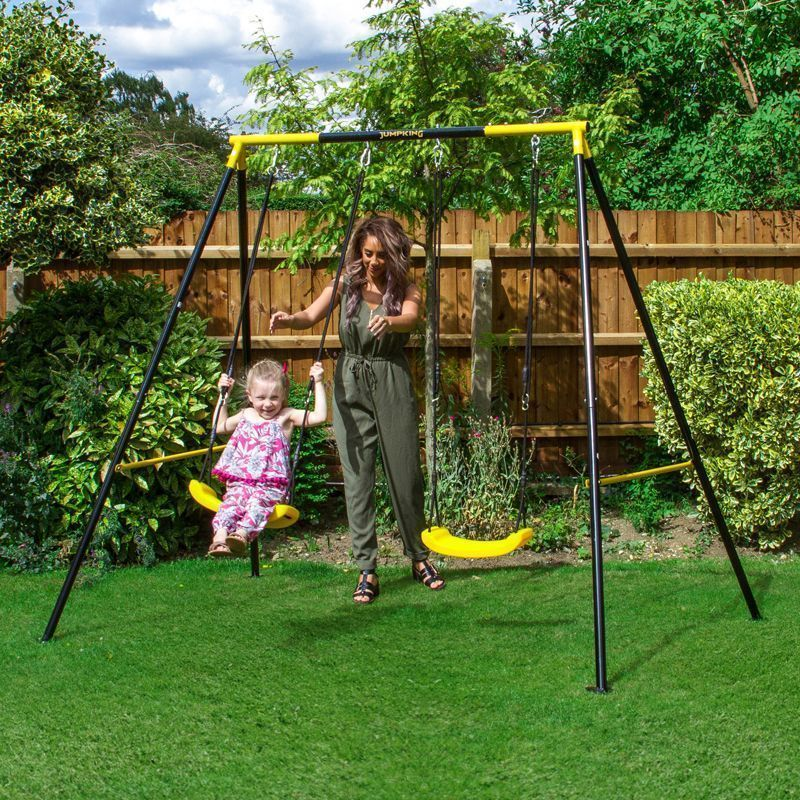 Jumpking Swing Set Black & Yellow Frame