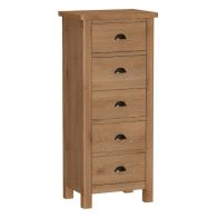 See more information about the Rutland Oak 5 Drawer Narrow Chest Rustic