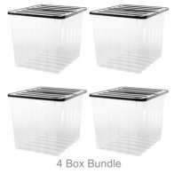 See more information about the 4 Pack x 110L Strata Supa Nova Extra Large Plastic Storage Box Clear