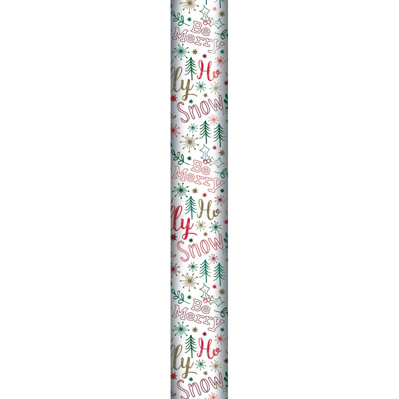 8m Modern Traditional Gift Wrap Be Merry Holly Snow