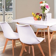 See more information about the Malmo Dining Set With Four Chairs Beech & White