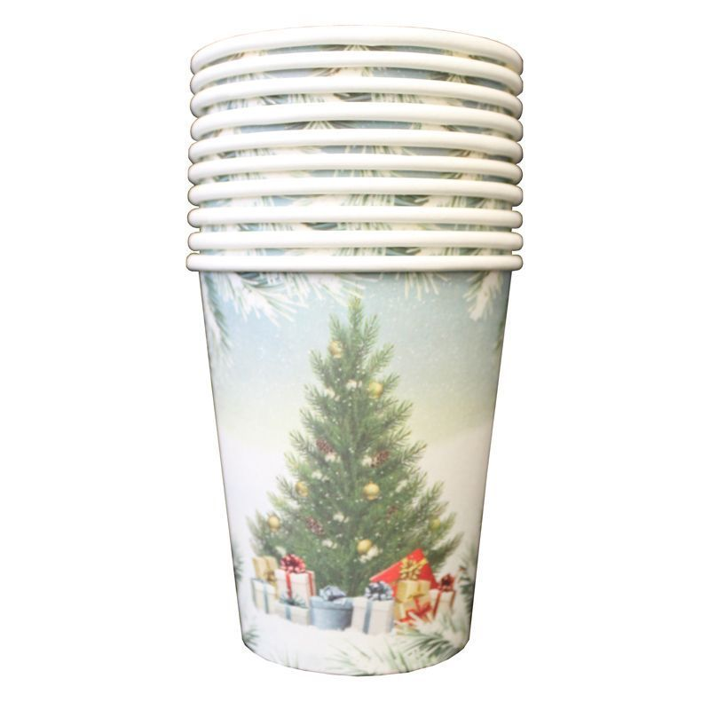 Christmas Paper Cup 10 Pack - Tree Presents