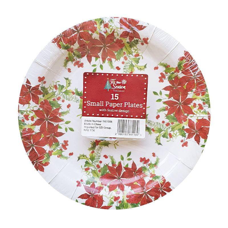 Small Christmas Paper Plates 15 Pack - Poinsettia & Holly