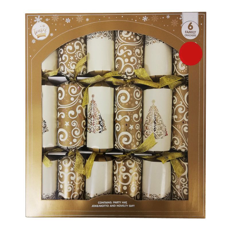 6 Christmas Party Crackers 15 Inch - Gold & Cream
