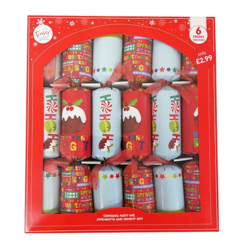 6 Christmas Party Crackers 15 Inch - Christmas Puddings