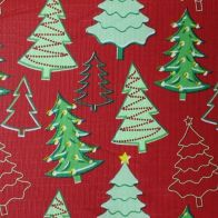 See more information about the Christmas PEVA Tablecloth - Red Trees 50 x 50""