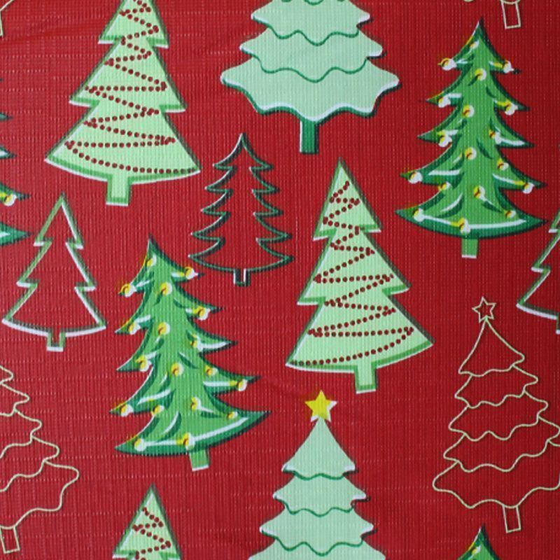 Christmas PEVA Tablecloth - Red Trees 50 x 90""