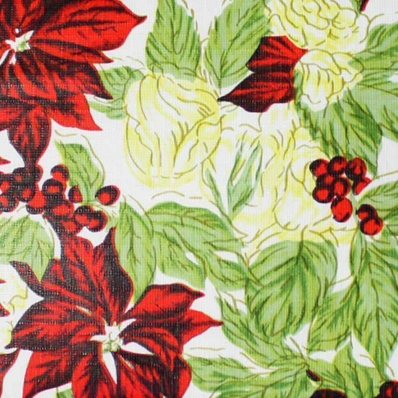 Christmas PEVA Tablecloth - Floral 50 x 90""