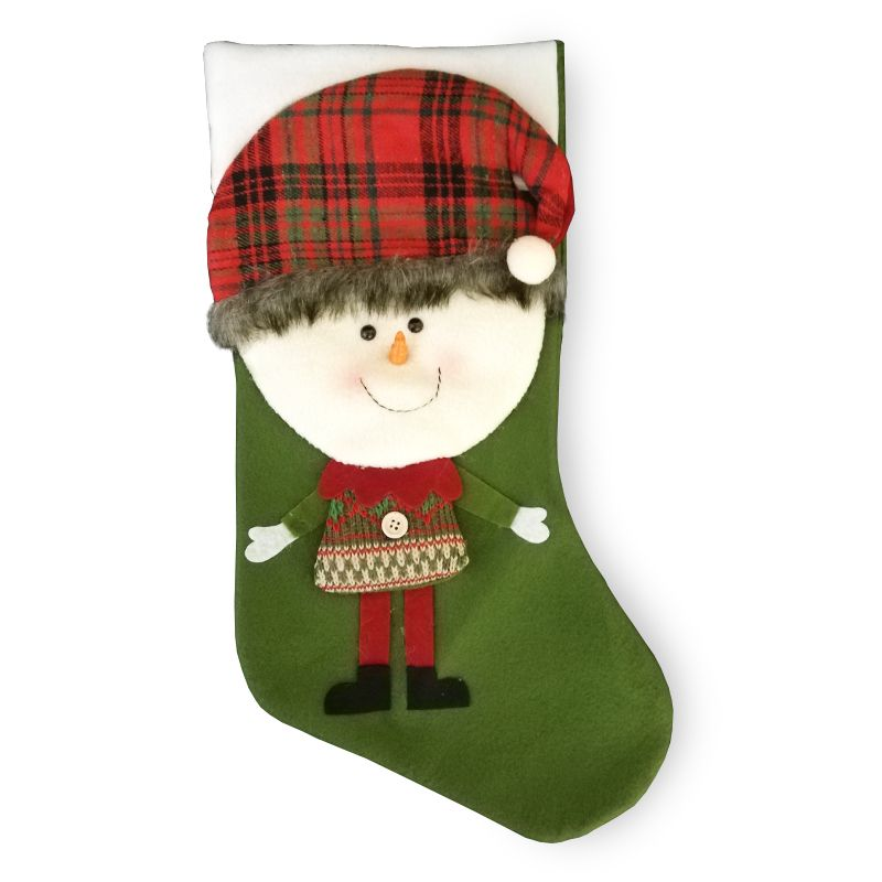 Snowman With Tartan Hat 20 Inch Stocking