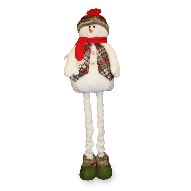 Extendable Standing Snowman Figure With Tartan - 36 Inch