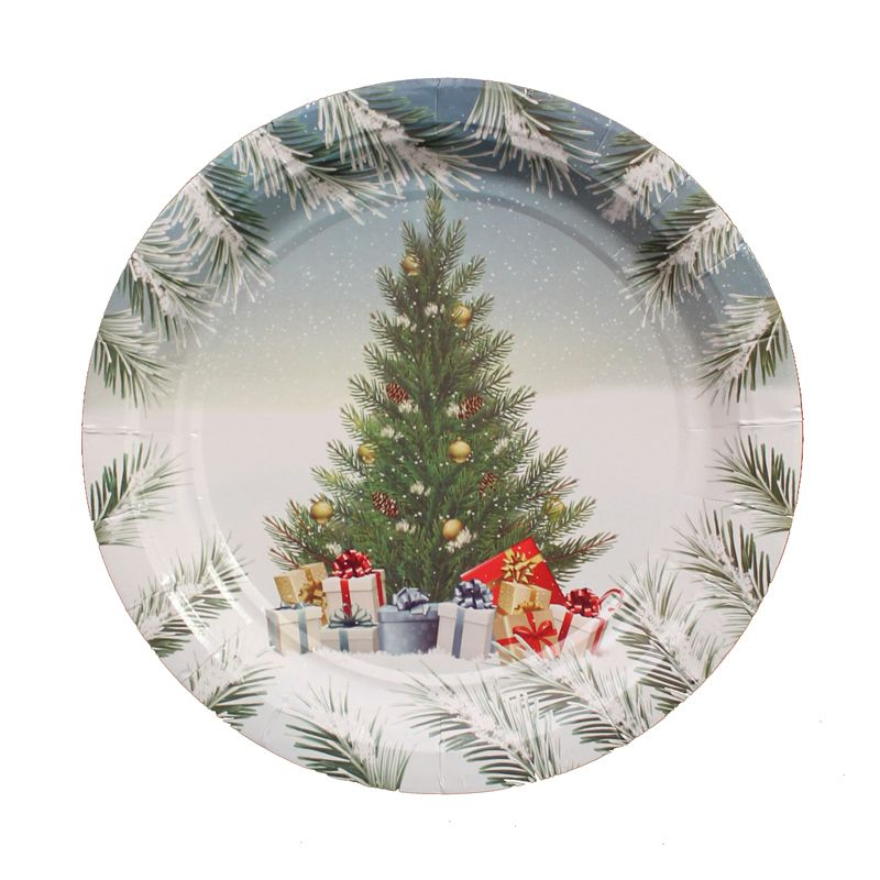 Small Christmas Paper Plates 15 Pack - Tree Presents
