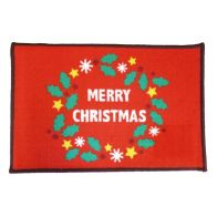 See more information about the Merry Christmas Themed Machine Washable Mat Red 40 x 60cm