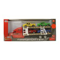See more information about the Team Power Transporter Truck With 4 Trucks Red 30cm