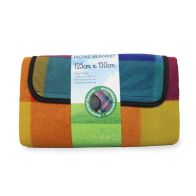 See more information about the Fleece Picnic Blanket 125cm x 150cm - Rainbow Check