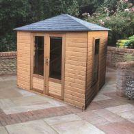 See more information about the Albany Sheds Windsor 8' x 6' 4-sided hipped Shiplap Wood Garden Summer House