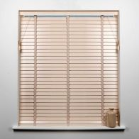 See more information about the Universal 60cm x 50mm Slat Cream Wood Venetian Blind