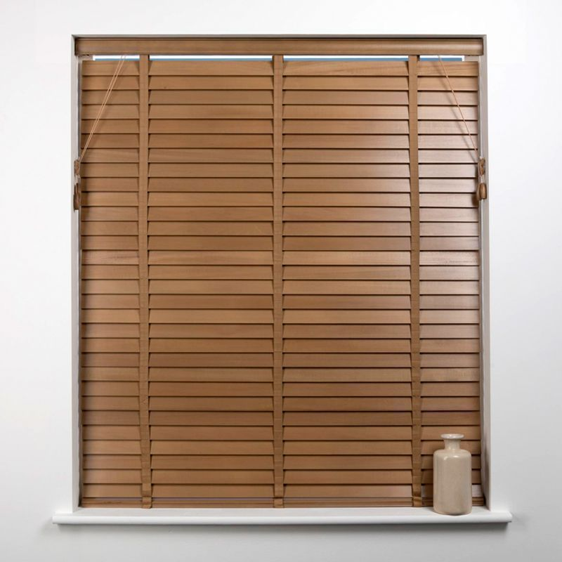 Universal 165cm x 50mm Slat Oak Wood Venetian Blind