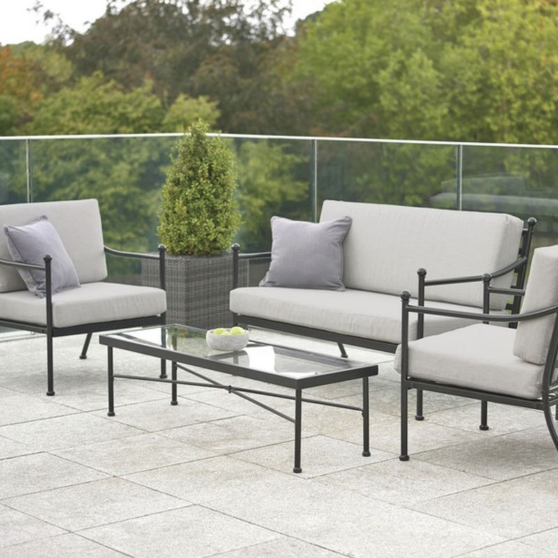 Harvington 4 Piece Garden Sofa Set Metal Buy Online At Qd Stores