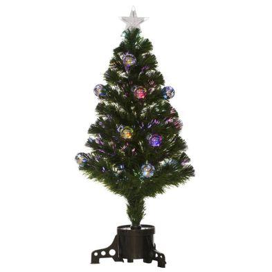 120cm (3 Foot 11 Inch) Green 130 Tips Multicolour Fibre Optic LED Tree