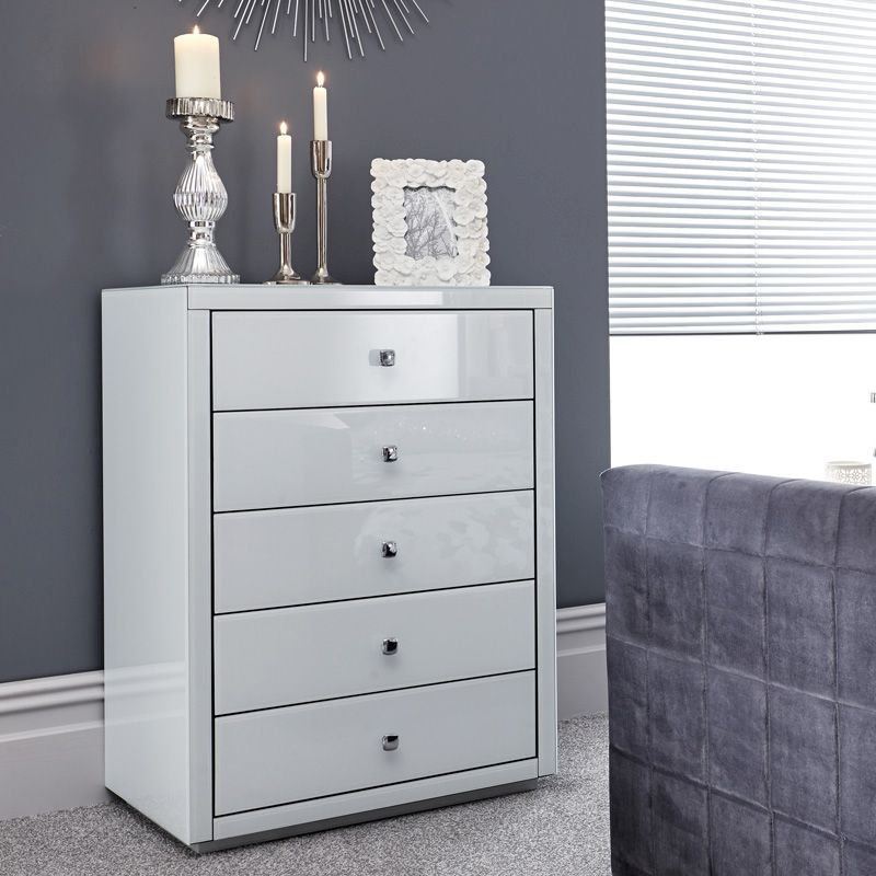 Amalfi White Tall Boy Chest Of 5 Drawers