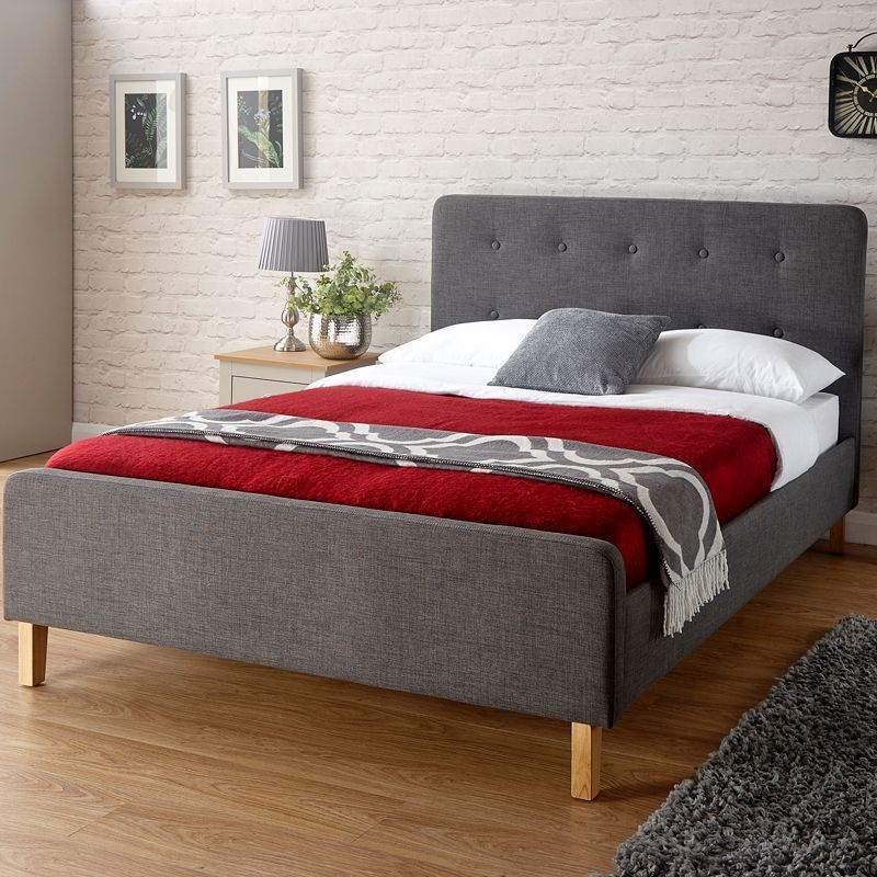 Ashbourne Grey Fabric Double 4ft 6in Bedstead