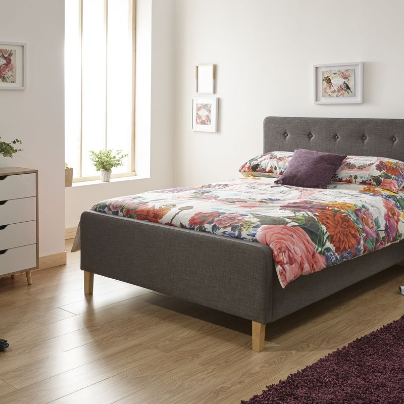 Ashbourne Double Ottoman Bed Grey