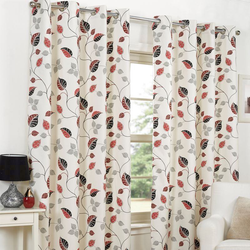 "Fusion April Curtains (66"" Width x 72"" Drop) - Red"