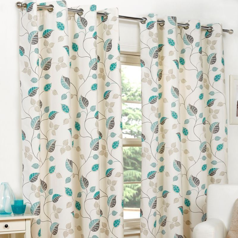 "Fusion April Curtains (45"" Width x 72"" Drop) - Teal"