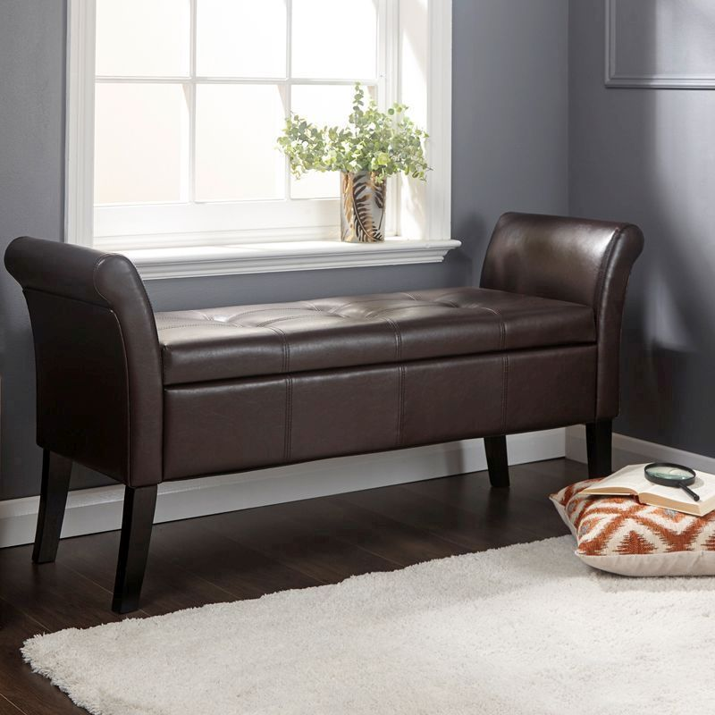 Balmoral Faux Leather Brown Storage Window Seat