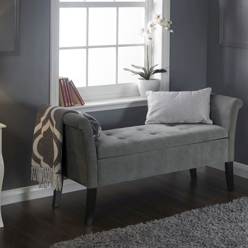 Balmoral Window Seat Grey & Chenille With Storage
